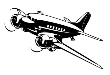 Vector Cartoon Retro Plane. Available EPS-8 vector format separated by layers for easy edit