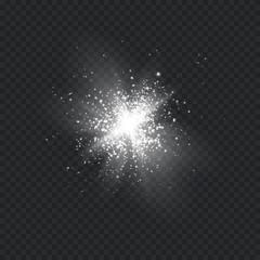Glow light effect. Star burst with sparkles.Sun