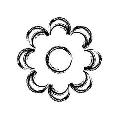 Flower isolated vector black icon, illustration design