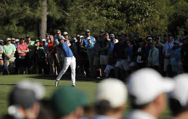Jordan Spieth of the U.S. hits a driver off the 15th tee during the 2017 Masters in Augusta