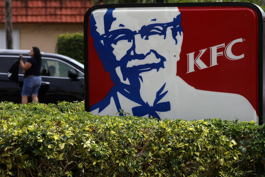 A Kentucky Fried Chicken (KFC) logo is pictured on a sign in North Miami Beach