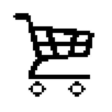 Vector  of Shopping Cart 8 Bit Pixel. EPS8 .