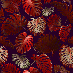 Seamless Tropical Jungle Leaves Pattern
