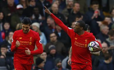 Liverpool's Georginio Wijnaldum celebrates scoring their first goal