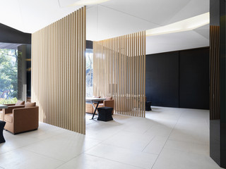 Sitting areas separated by cardboard tubes