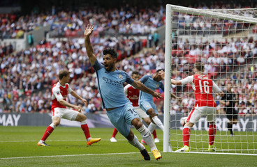 Manchester City's Sergio Aguero celebrates scoring a goal which is later disallowed