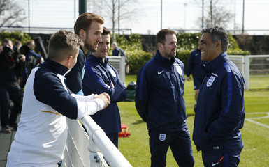 England's Harry Kane watches training