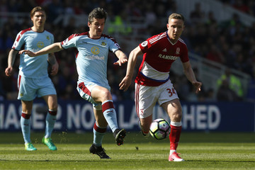 Burnley's Joey Barton in action with Middlesbrough's Adam Forshaw