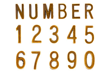 Gold Font Number 1 to 0, Retro style font face or Font type