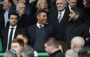 New Rangers manager Pedro Caixinha in the stands with Pedro Mendes