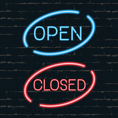 Open, closed signborads. Neon effect in blue and red colors on dark background. Vector