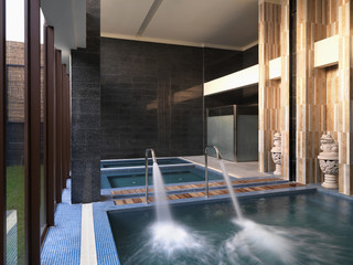 Spa tubs with large faucets