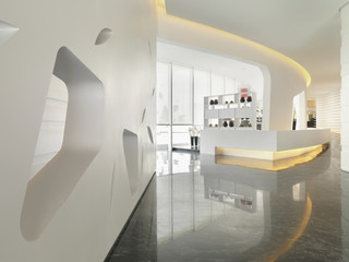 Spacious lobby in modern building