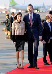 Spain's King Felipe and Queen Letizia arrive at Haneda international airport in Tokyo
