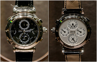 A combination picture shows both sides of a reversable Patek Philippe Grandmaster Chime watch displayed at the Baselworld watch and jewellery fair in Basel