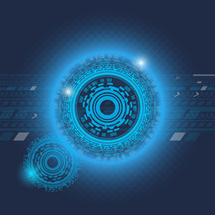 Blue shayni futuristic head up display abstract vector background