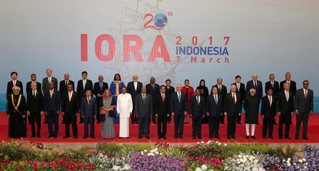 Participants stand during photo session for Indian Ocean Rim Association (IORA) Leaders' Summit 2017 in Jakarta