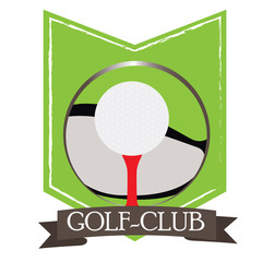 Isolated golf emblem with a ribbon, Vector illustration