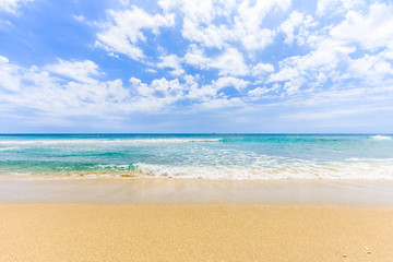Empty sea and beach background with beautiful blue sky.