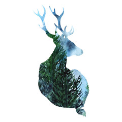 Silhouette deer animal wood forest background isolated