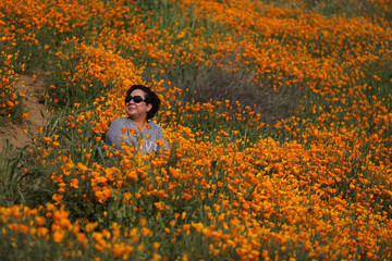 A woman sits in a massive spring wildflower bloom caused by a wet winter in Lake Elsinore