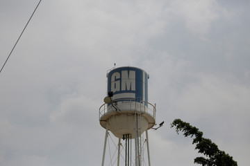 A water tank with the GM logo is seen at the General Motors Assembly Plant in Valencia