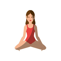Woman yoga cartoon icon vector illustration graphic design