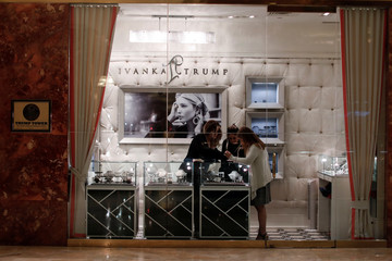Women look at jewelry in the Ivanka Trump shop inside Trump Tower in New York City