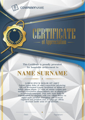 Template of Certificate of Appreciation with golden badge and triangular background, in blue