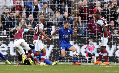 Leicester City's Danny Drinkwater clears a shot off the line