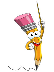 Pencil Mascot cartoon stick teaching isolated