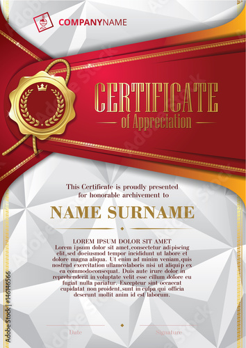Template Of Certificate Of Appreciation With Golden Badge And