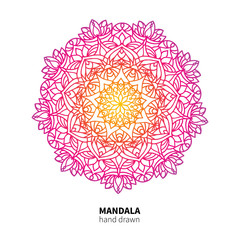 Mandala flower vector drawing. Ethnic colorful decorative element.