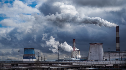 Factory fumes in the environment. Russia. Saint Petersburg, spring 2017.
