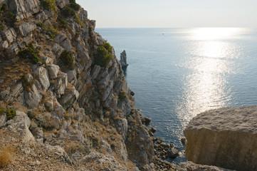 View from coastal cliff towards Sail Rock in Gaspra, Crimea.
