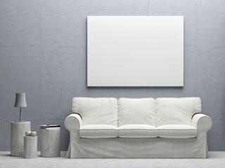 White poster living room concept design interior, 3d illustration