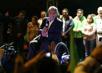 Lenin Moreno, candidate of the ruling PAIS Alliance Party, pauses while celebrating the early results of the presidential election with supporters in Quito