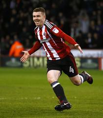 John Fleck celebrates scoring the second goal for Sheffield United