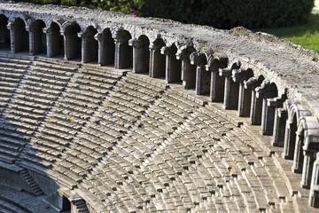 ISTANBUL, TURKEY - MAY 26, 2016: Representative model of historical old ancient city of Aspendos amphitheater, Antalya in Miniaturk, Istanbul