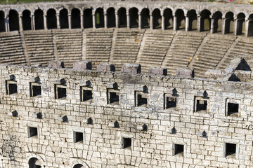 ISTANBUL, TURKEY - MAY 26, 2016: Representative model of historical old ancient city of Aspendos amphitheater, Antalya in Miniaturk, Istanbul