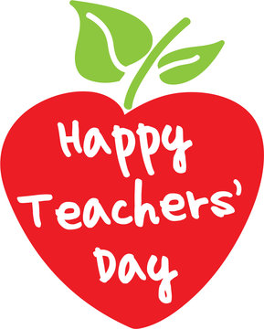 Happy Teachers' Day apple heart