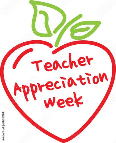 Teacher Appreciation Week Apple Heart Stockfotos Und Lizenzfreie