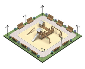 square playground isometric view 3d rendering