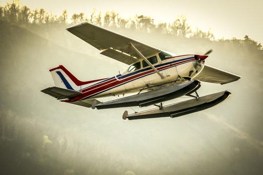 Old seaplane in flight