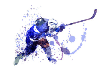Vector watercolor illustration of hockey player