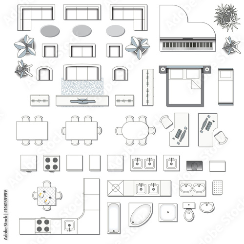 Set top view for interior icon design elements for for Floor plan furniture store