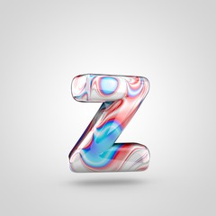 Glossy water marble alphabet letter Z lowercase isolated on white background