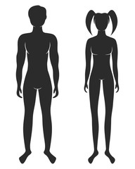 Vector illustration of standing silhouettes of man and woman, female and male signs isolated on white