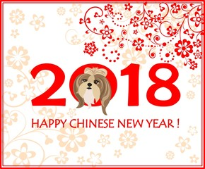 Greeting decorative card with puppy of shi tsu for Chinese New year 2018