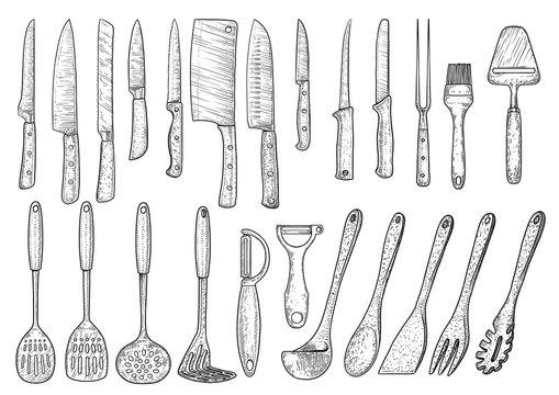 Utensil illustration, drawing, engraving, ink, line art, vector